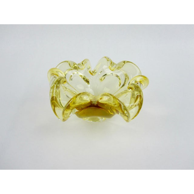 Italian Yellow Murano Hand-Blown Glass Bowl For Sale - Image 3 of 7
