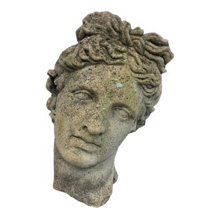 Classical Cement Garden Sculpture Bust of Diana For Sale