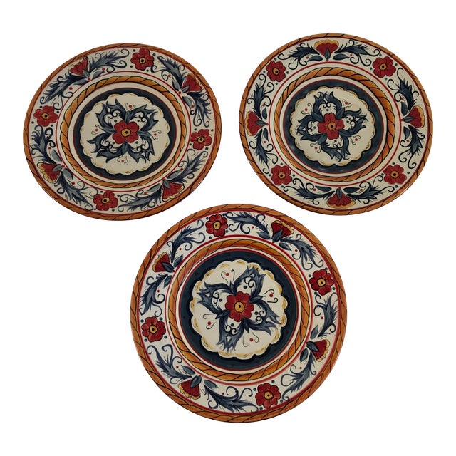 """Contemporary """"Tabletops Gallery ITALIANO""""Hand Painted Salad Plates S/3 For Sale"""