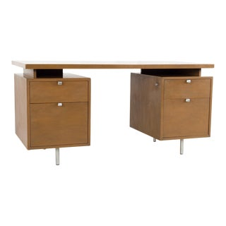George Nelson for Herman Miller Mid Century Floating Walnut Double Sided Executive Desk For Sale