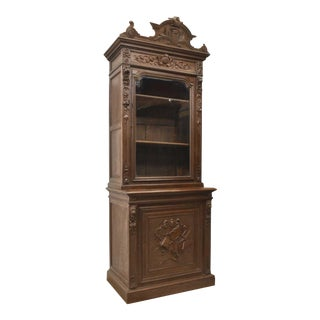 19th Century Antique French Henri II Style Carved Oak Cabinet / Bookcase For Sale