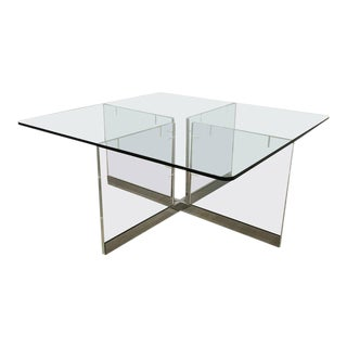 Large Custom Lucite and Chrome Dining Table