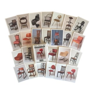 Vintage Famous Chairs Collector's Museum Designer Trading Cards Boxed Set - 36 Pc For Sale