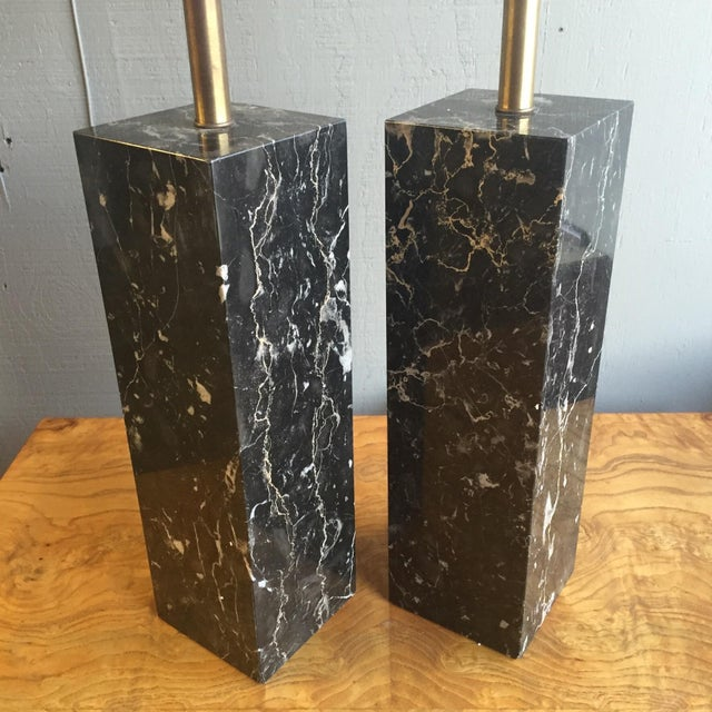 Mid Century Modern Marble Lamps by Nessen - a Pair - Image 3 of 7