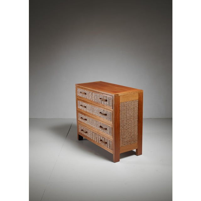 Mid-Century Modern Jean Touret oak and wicker commode for Marolles, France, 1950s For Sale - Image 3 of 5