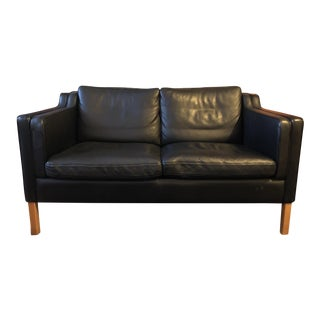 Stouby Børge Mogensen Model 2212 Style Two-Seat Sofa in Black Leather