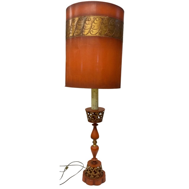 1940s Tall Hollywood Regency Deep Coral & Gold Table Lamp For Sale