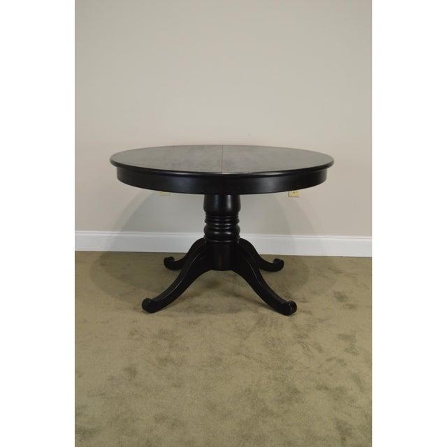 Crate & Barrel Black Round Pedestal Dining Table W/ Leaf