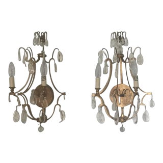 Visual Comfort Gilded Iron Sconces With Crystals - A Pair For Sale