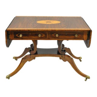 Regency Drop Leaf Mahogany & Rosewood Console Sofa Table Attr. To Maitland Smith For Sale