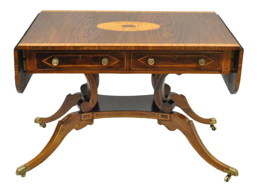 Regency Drop Leaf Mahogany U0026 Rosewood Console Sofa Table Attr. To Maitland  Smith For Sale