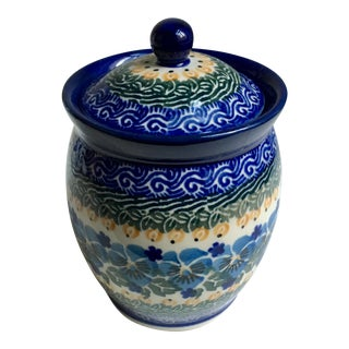 Maria Starzyk Blue Hand Painted Ceramic Jar For Sale