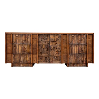 Lane Pueblo Brutalist Mid Century Modern Triple Dresser For Sale
