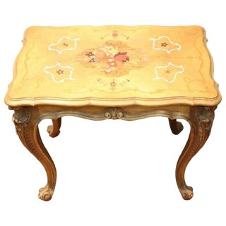 20th Century Louis XV Style Inlaid Wood Side Table or Sofa Table For Sale