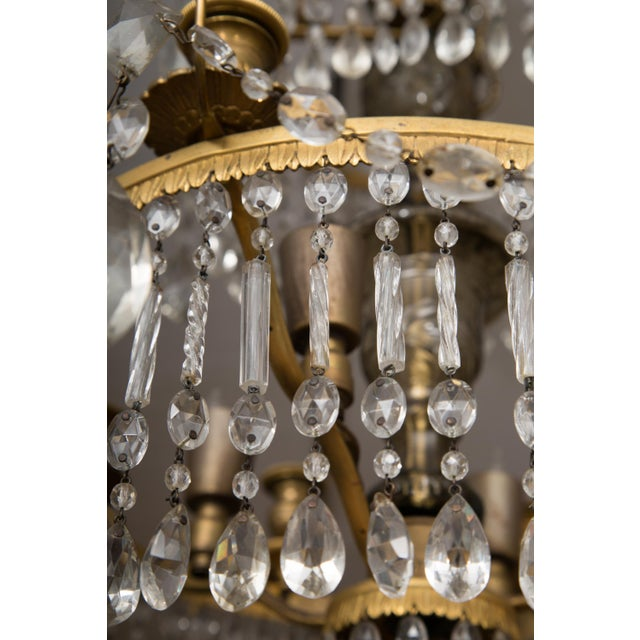 19th Century Gilt Metal and Crystal Baltic Chandelier For Sale - Image 4 of 13