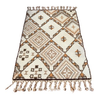 Mid-Century Custom Morocan Berber Wool Rug - 3′11″ × 6′11″ For Sale