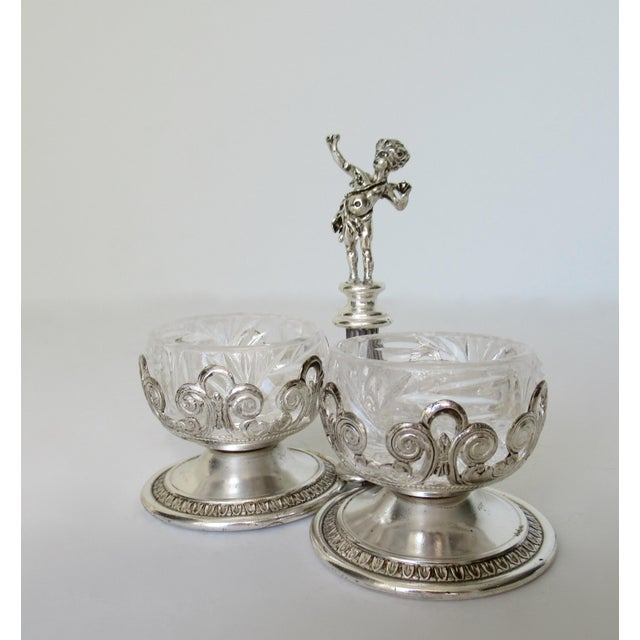 Anglo-Indian Vintage English Silver Plate Dual Salt & Pepper, Salt Serving Cellars W/Winged Cupid Figure - 3 Pieces For Sale - Image 3 of 13
