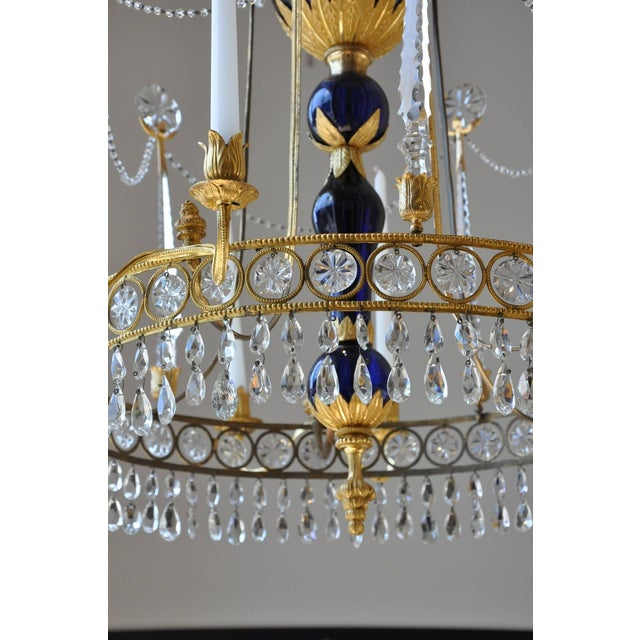 Period Early 19th Century Russian Neoclassical Cobalt and Ormolu Chandelier For Sale - Image 4 of 8