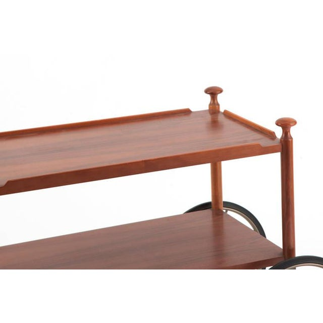 Mid-Century Modern Unusual Walnut and Nickel Bar Cart by Wilhelm Renz, Late 1960s For Sale - Image 3 of 7