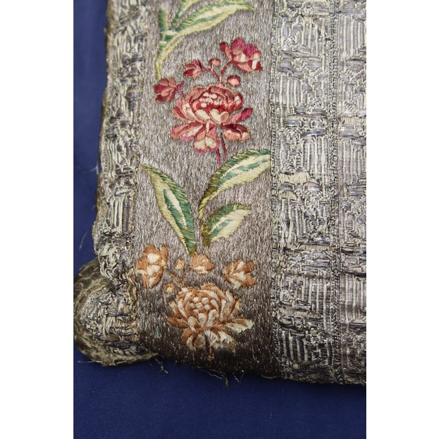 French 18 C. French or Italian Silk Pillow For Sale - Image 3 of 5