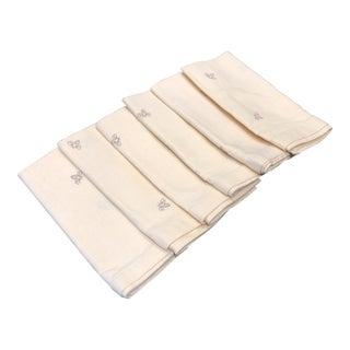 Cream Linen Bee Motif Napkin, Set of 6 For Sale