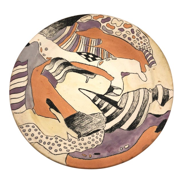 Late 20th Century Vintage Abstract Hand-Painted Decorative Ceramic Platter For Sale