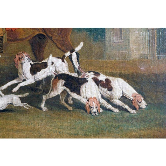 Canvas 19th Century Oil on Canvas English Hunting Scene of Rider on Horse With Hounds For Sale - Image 7 of 13