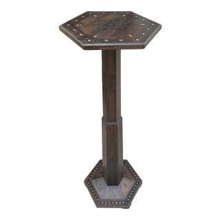 Vintage 1980s Mosaic Inlaid Expresso Color Pedestal For Sale