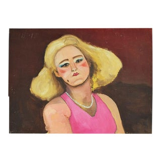 "Original Portrait Painting of a Pin-Up Woman in Pink - 16"" X 12"" - Signed For Sale"