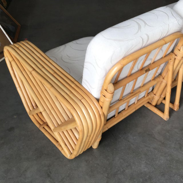 1950s Restored Six-Strand Square Pretzel Sectional Rattan Corner Sofa W/ Side Table For Sale - Image 5 of 8