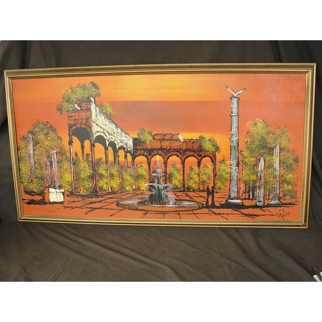 1950's Orange Ruins Painting by V Ran Raymor - Image 2 of 7