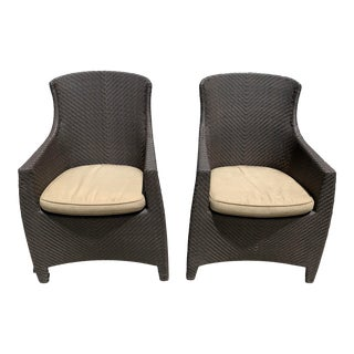 Woven Vinyl Arm Chairs by Grange - A Pair For Sale