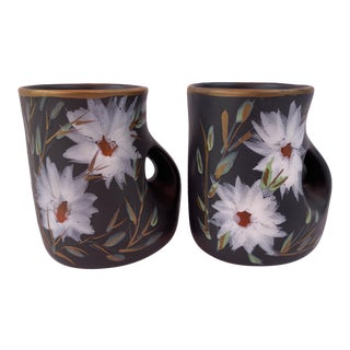 Mid-Century Modern Terracotta Black Floral Mugs Signed Vallauris France - Set of 2 For Sale