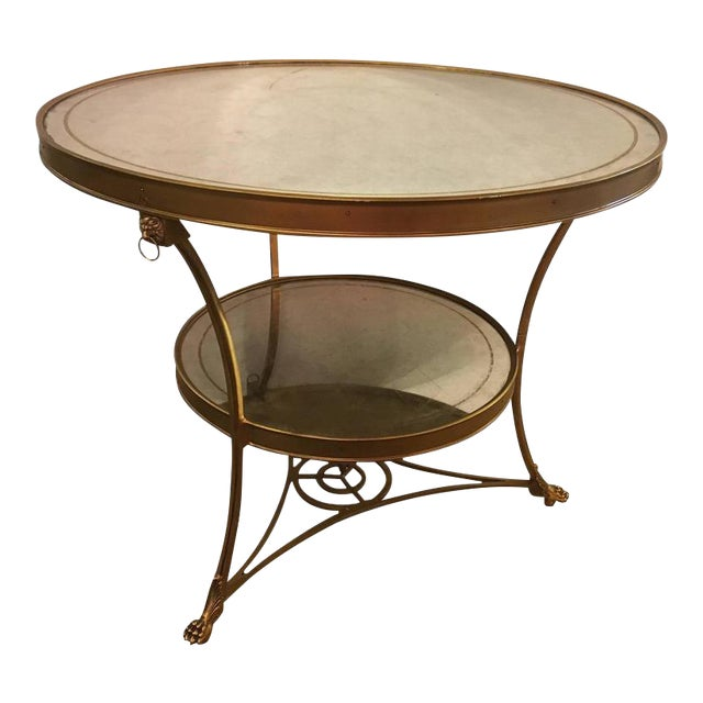 Hollywood Regency Style Gilt Based Eglomise & Mirror Top Gueridon Centre Table For Sale
