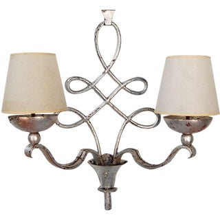 1930s French Silver Leaf Finish Sconce For Sale