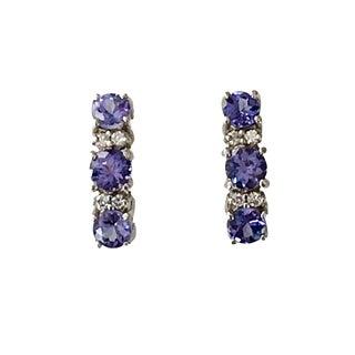 14k White Gold Tanzanite Diamond Hoop Pierced Earrings For Sale