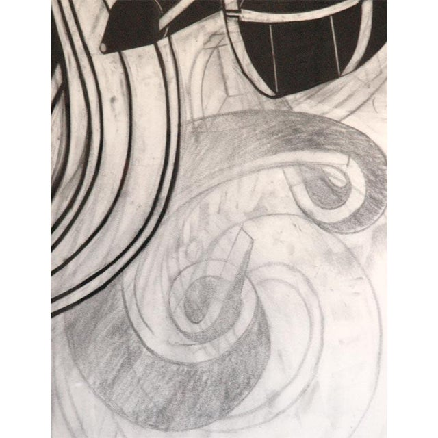 Large Charcoal and Vermilion Pastel Drawing by John Monti For Sale - Image 4 of 9