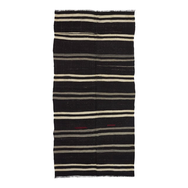 "Vintage Striped Kilim Rug - 5'1"" x 10'5"" For Sale"