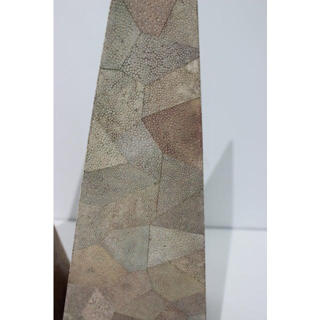 Shagreen Vintage Maitland-Smith Shagreen Obelisks - a Set of 2 For Sale - Image 7 of 11