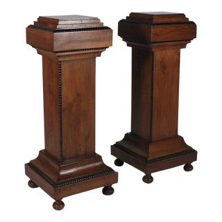 Mid-Century Walnut Wood Pedestals - a Pair For Sale