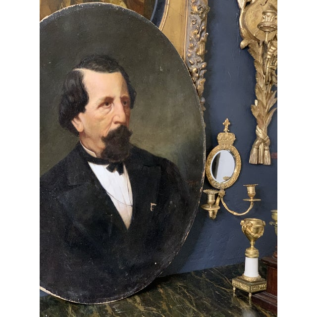 Brown 19th-Century Oil on Oval Canvas Portrait Painting For Sale - Image 8 of 13