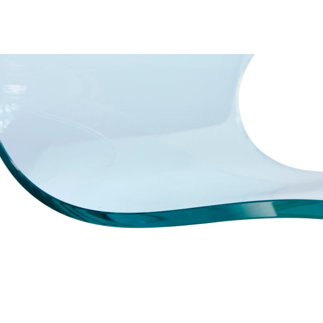 Wood Fiam Italia Attributed Glass Ribbon Table For Sale - Image 7 of 10