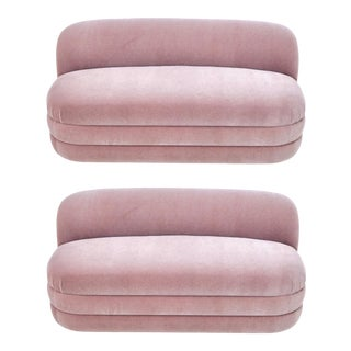 Pair of Vladimir Kagan Pink Mohair Settees For Sale