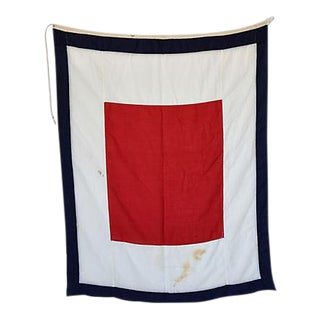 "Large Vintage Maritime Nautical Naval Signal ""W"" Flag"