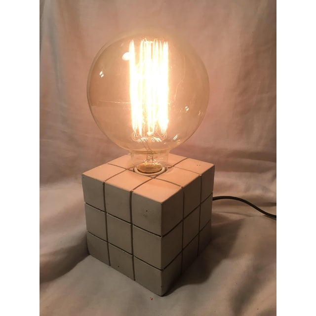 Cement Block Modern Table Lamp For Sale - Image 4 of 4