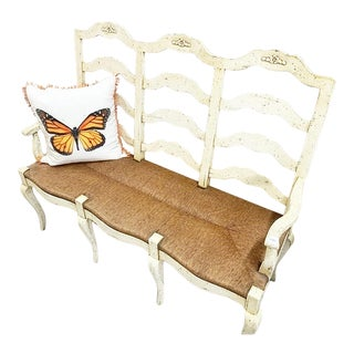 1980s Vintage French Country Type Painted Bench with Cushion For Sale