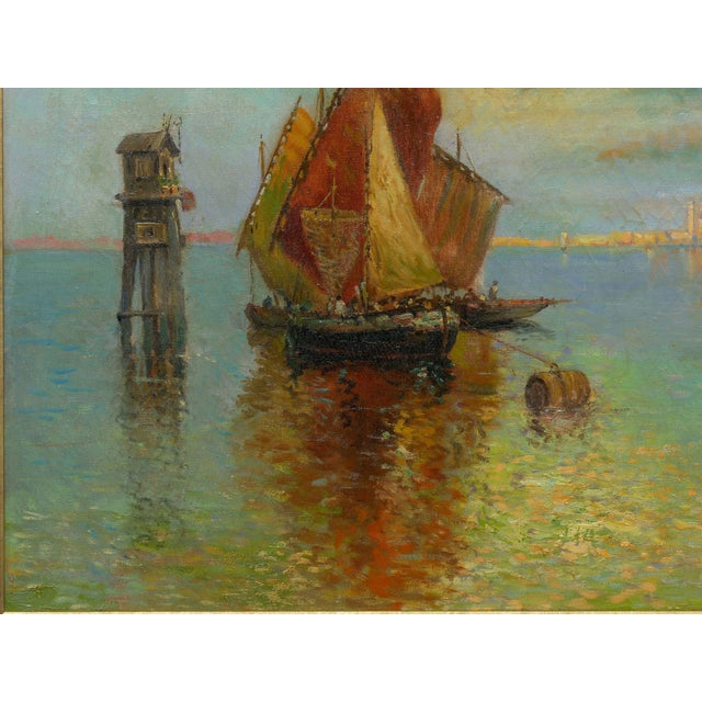 """""""View of Venice"""" Antique Oil Painting by Nicholas Briganti (American, 1861-1944) For Sale - Image 6 of 13"""
