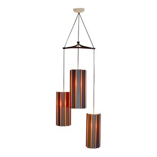 Vintage Modern 3 Pendant Orange Gray Hanging Chandelier Ft Sweden For Sale