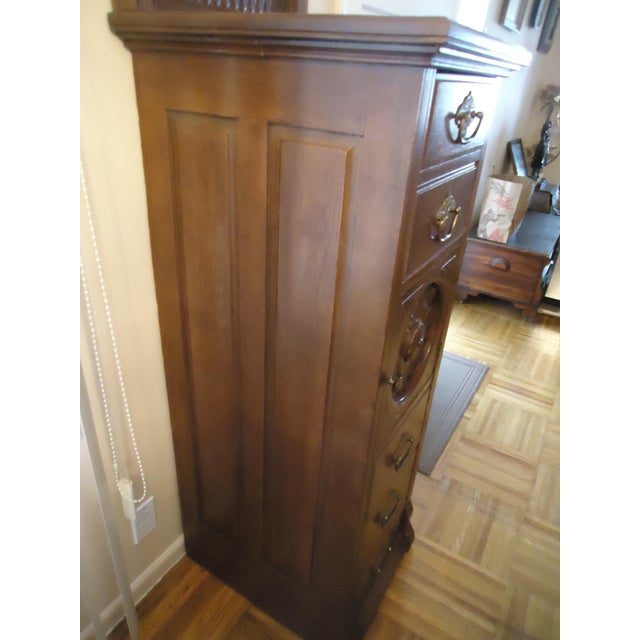 Brown 1870- 1893 Antique Nelson Matter & Co. Mahogany Carved Wood File Storage Cabinet For Sale - Image 8 of 11