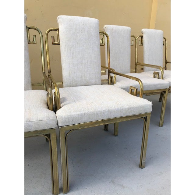 Brass Mastercraft Greek Key Dining Chairs - Set of 6 For Sale - Image 7 of 8